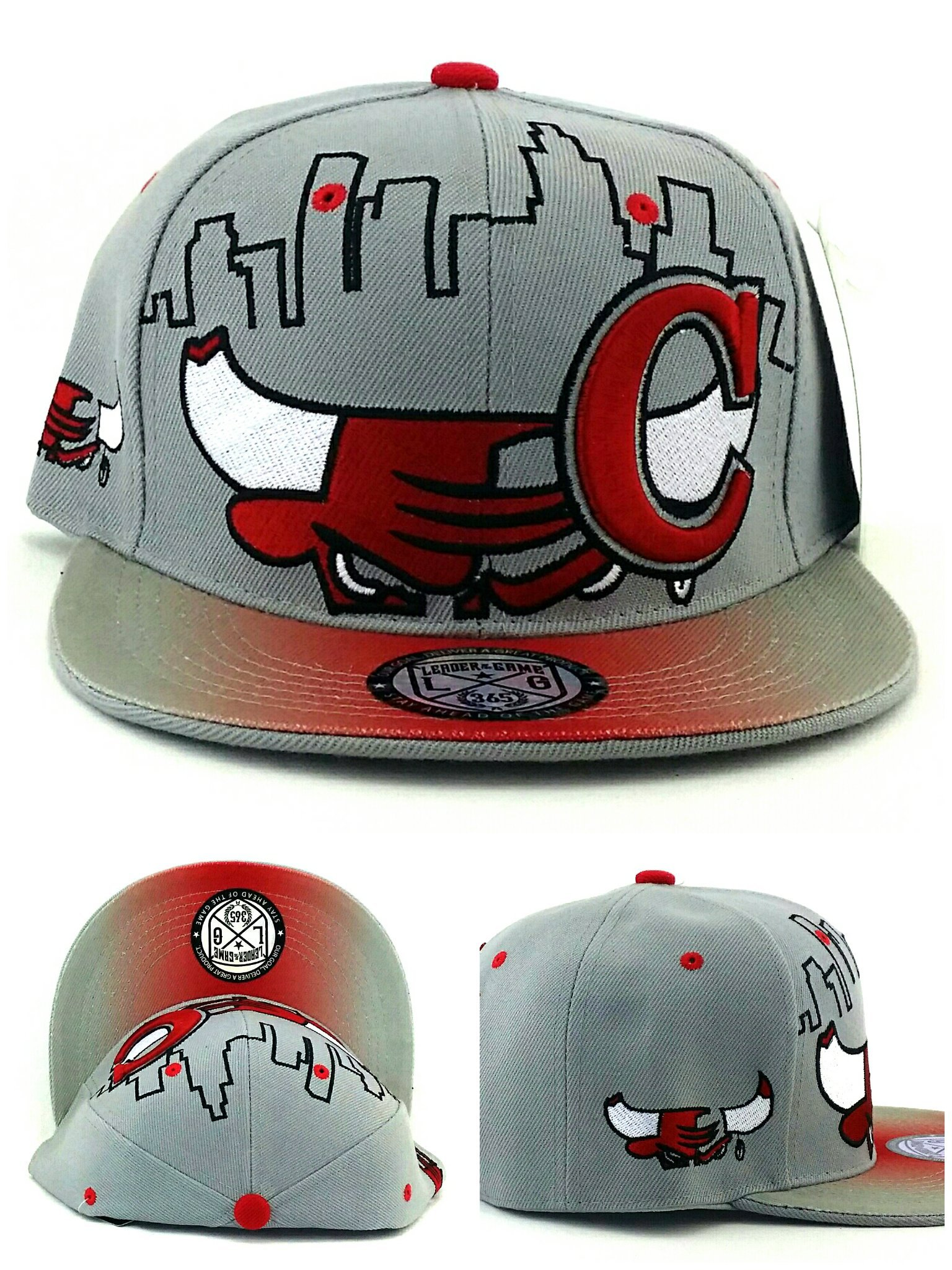 Chicago New Leader Bull Head Skyline Bulls Colors Gray Red Era Snapback Hat Cap