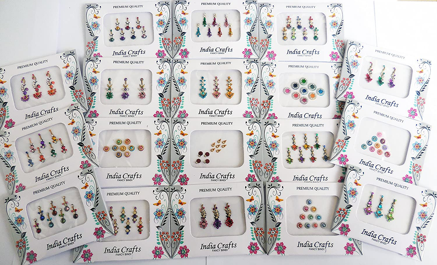 12 Combo Bindi Packs All in One- Multicolored Face Jewels Bindi Stickers Indian Forehead Tika Sheesham Ivy LLP