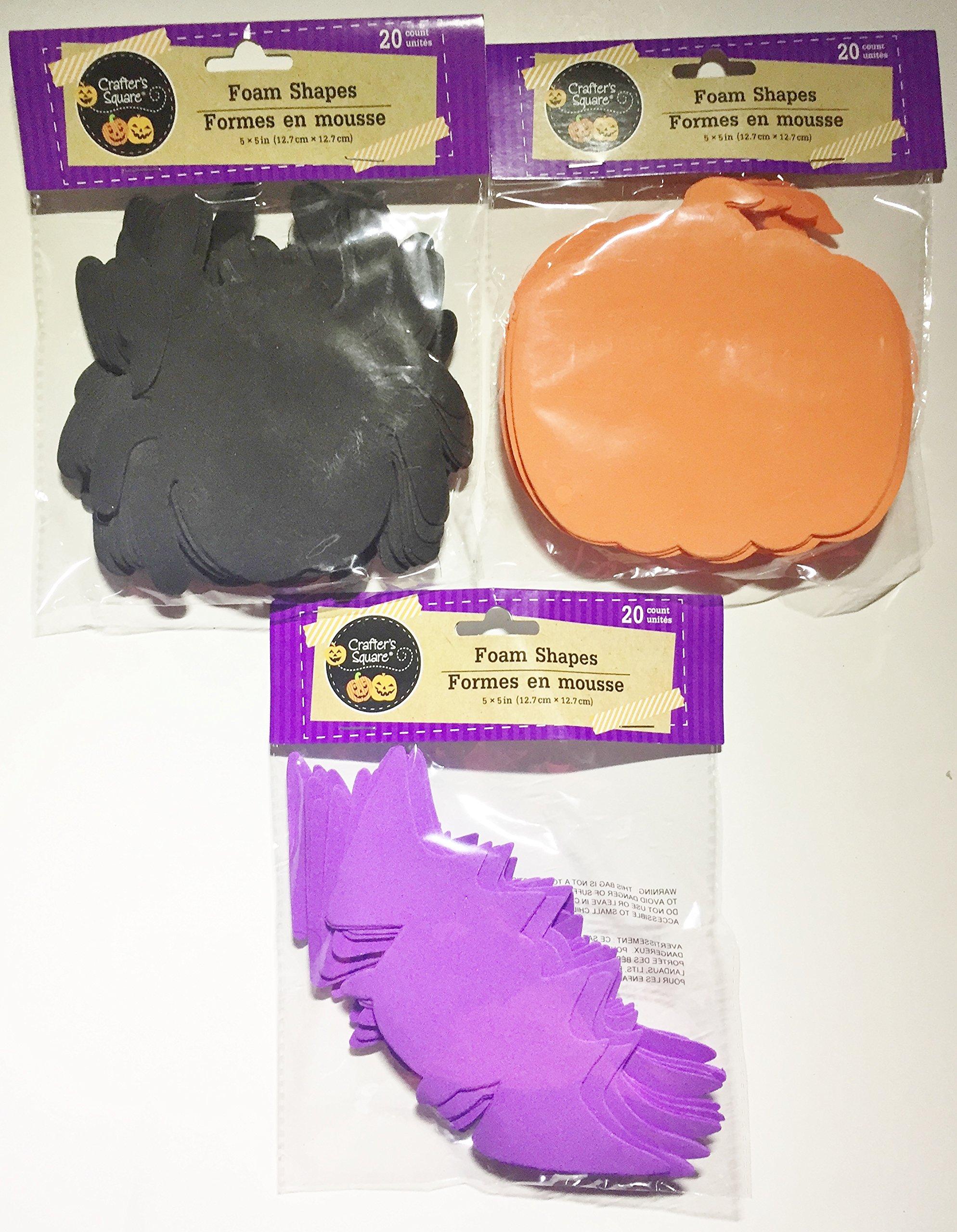 Halloween Foam Shapes...20 per pack...Includes 20 Pumpkins, 20 Bats, 20 Spiders