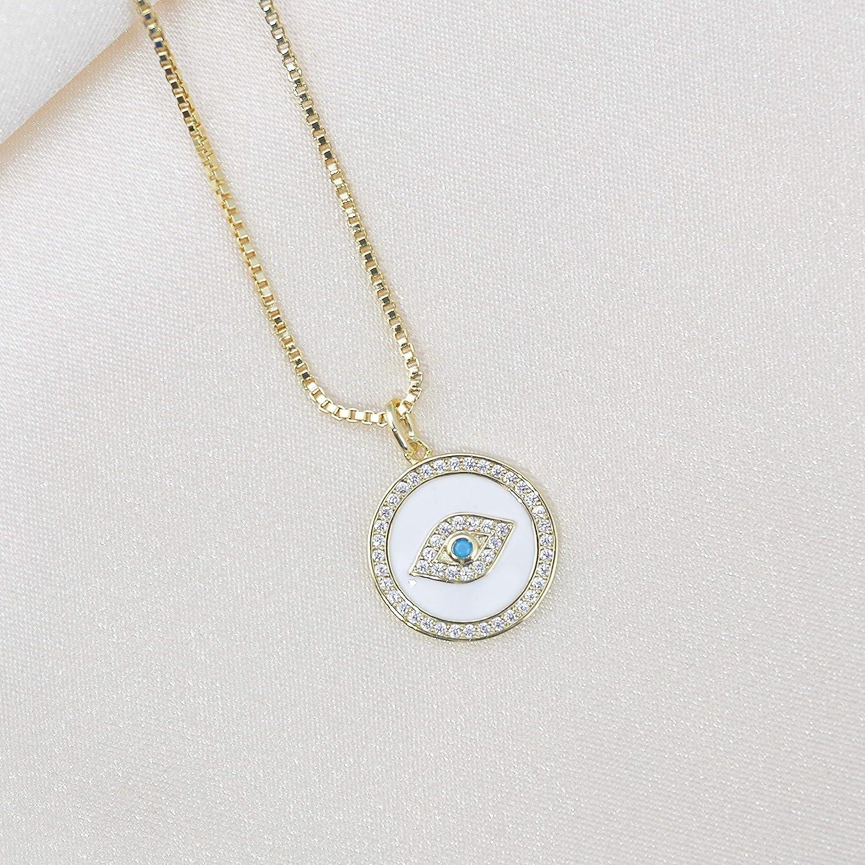 Statement Circle Necklace Layered Boho Necklace 18K Gold Evil Eye Pendant Necklace for Women