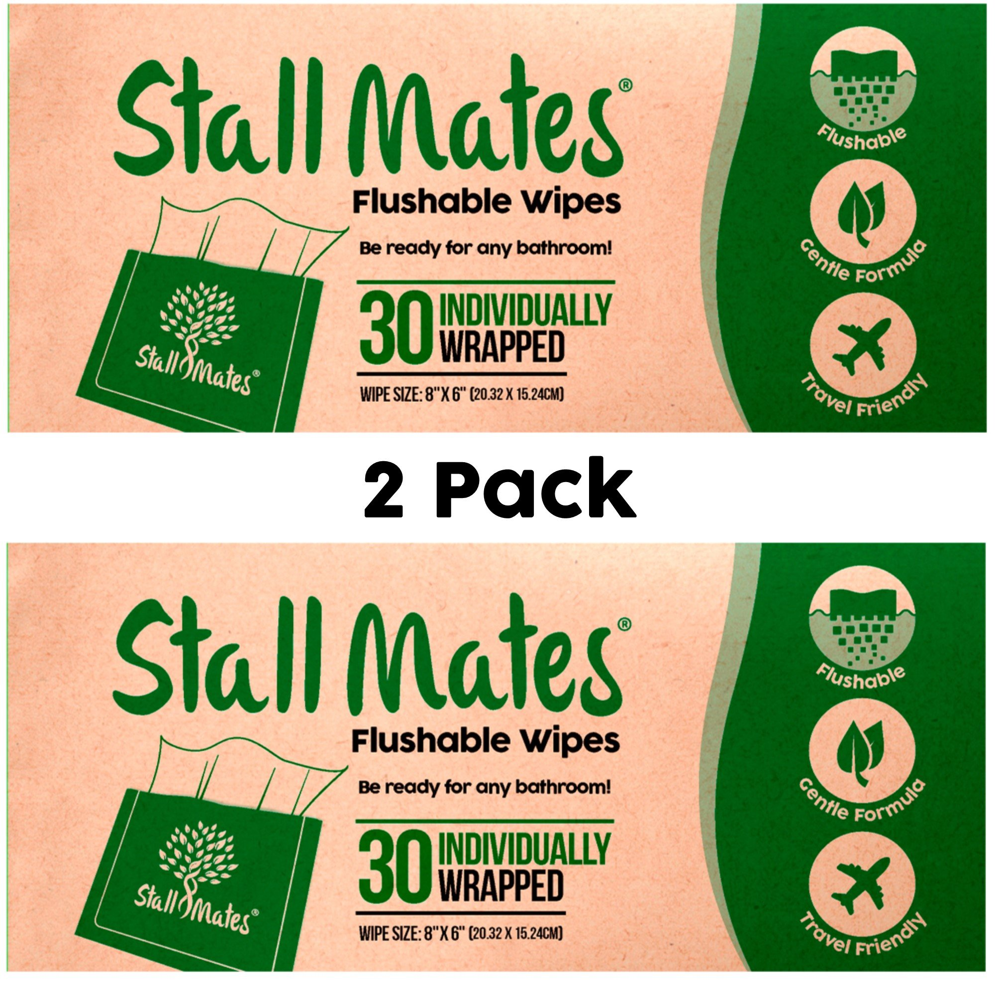 Stall Mates Wipes: Flushable, Portable, eco-Friendly Bathroom Wipes. (2 Pack)