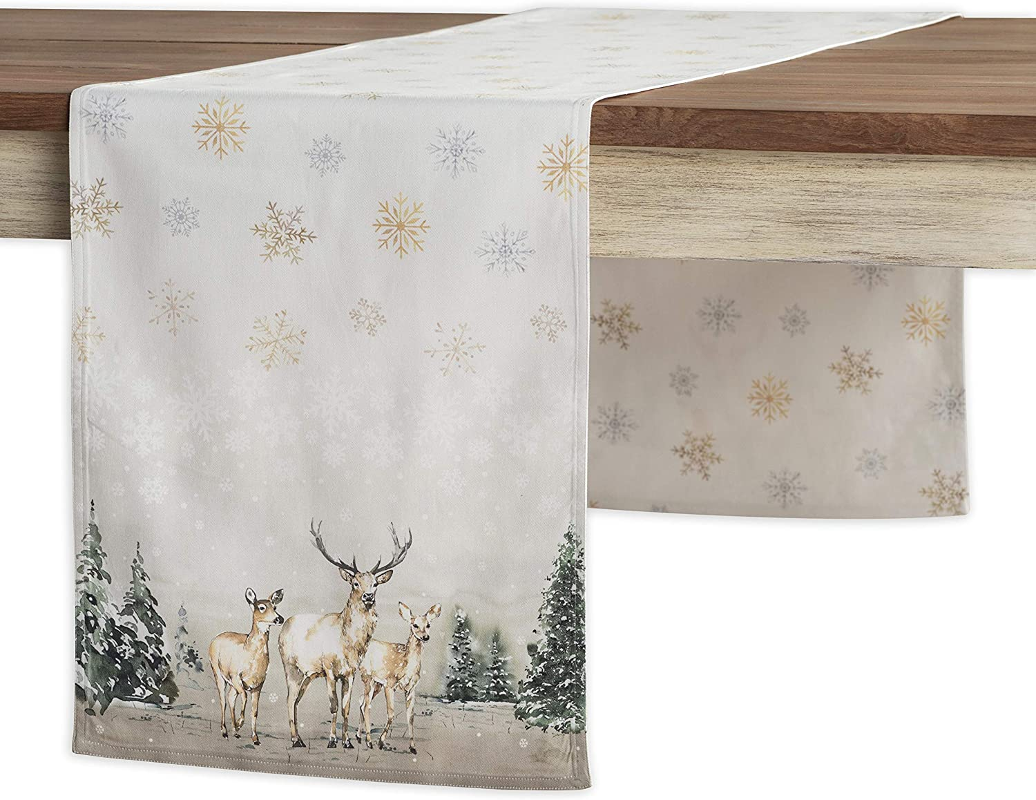 Maison d' Hermine Deer in The Woods 100% Cotton Table Runner 14.5 Inch by 72 Inch. Perfect for Thanksgiving and Christmas