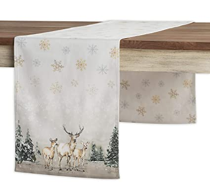 Maison d' Hermine Deer in The Woods 100% Cotton Table Runner - Double Layer 14.5 Inch by 108 Inch best Christmas table runners
