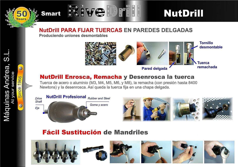 NutDrill Adaptador para remachadora de tuercas con taladro, remachadora para Insertos roscados NutDrill desde M-3 a M-8 con taladro.