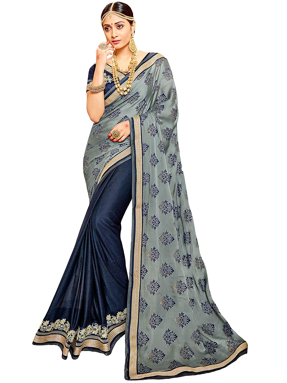 Shree Designer Sarees Classical Grey Shimmer Chiffon Satin Saree 20617