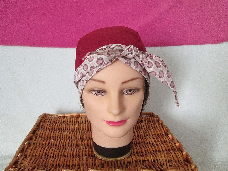 Foulard, turban chimio, bandeau pirate au féminin bordeaux et rose pastel