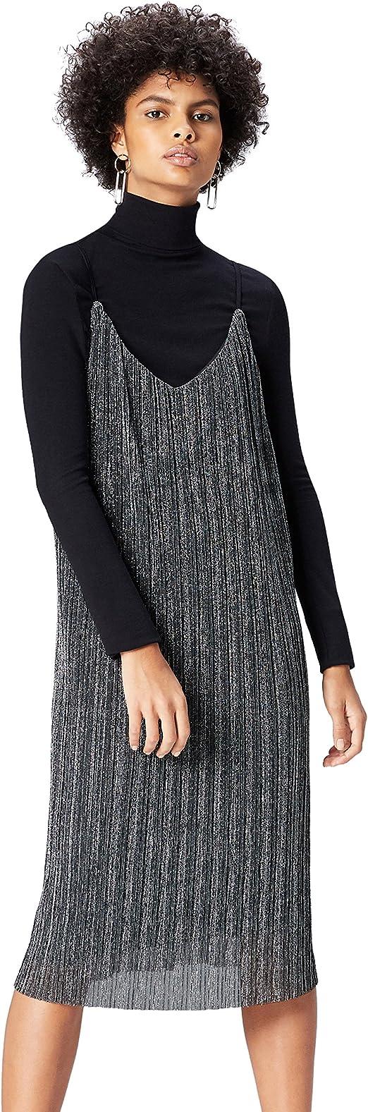 Marca Amazon - find. Vestido Plisado de Tirantes para Mujer