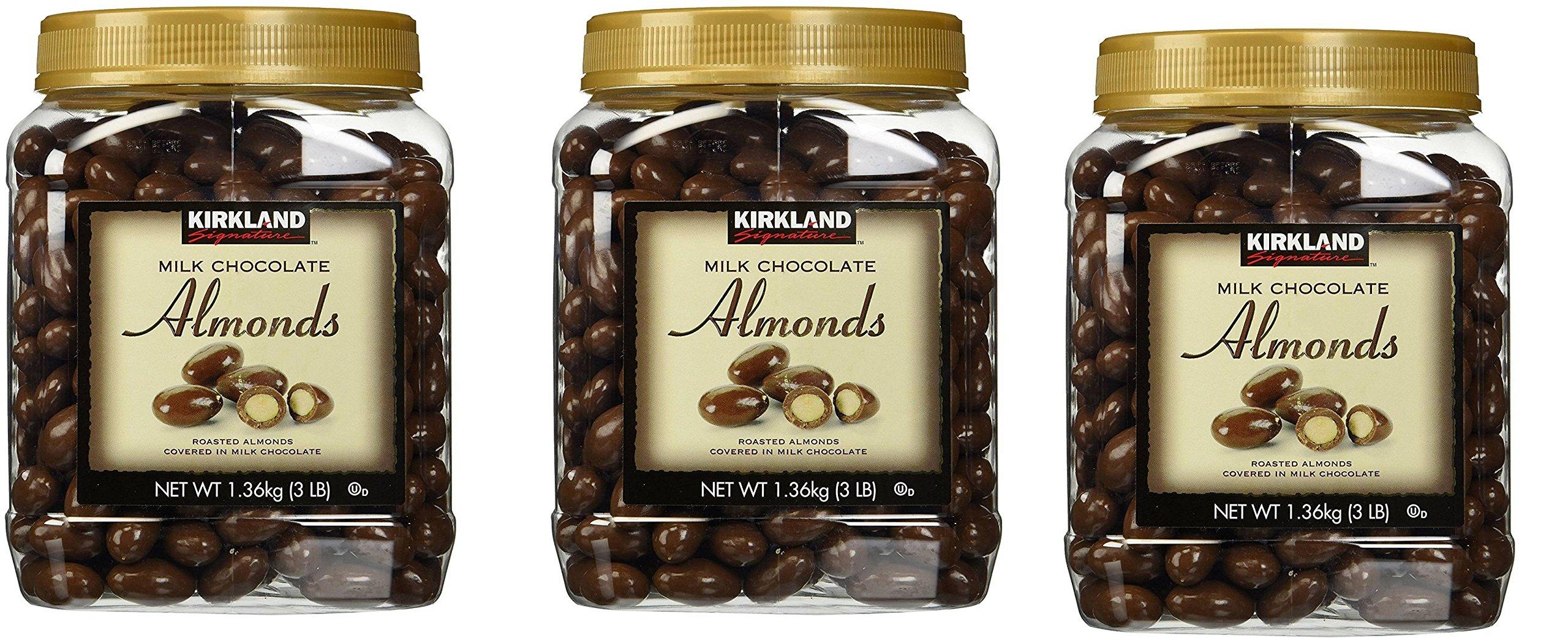 Kirkland Signature Milk Chocolate Roasted Almonds Jars [Pack of 3, 3LBS (48 Oz) Each]