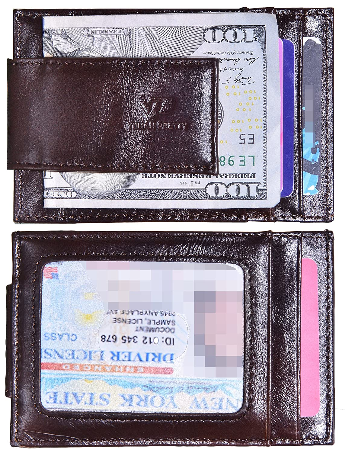 Mens Money Clip Wallet RFID Slim Wallet Genuine Leather Thin Front Pocket Wallet (Small Coffee With Id Window (Oil Leather)) MC0922002YPC2