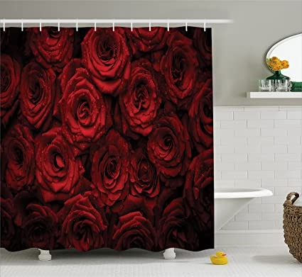 Ambesonne Dark Red Shower Curtain Image Of Roses With Drops Water Blooming Bouquet