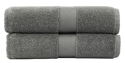 216279c161e5a Cotton Craft - 2 Pack Luxuriously Oversized Hotel Bath Sheet - Grey - 100%  Ringspun