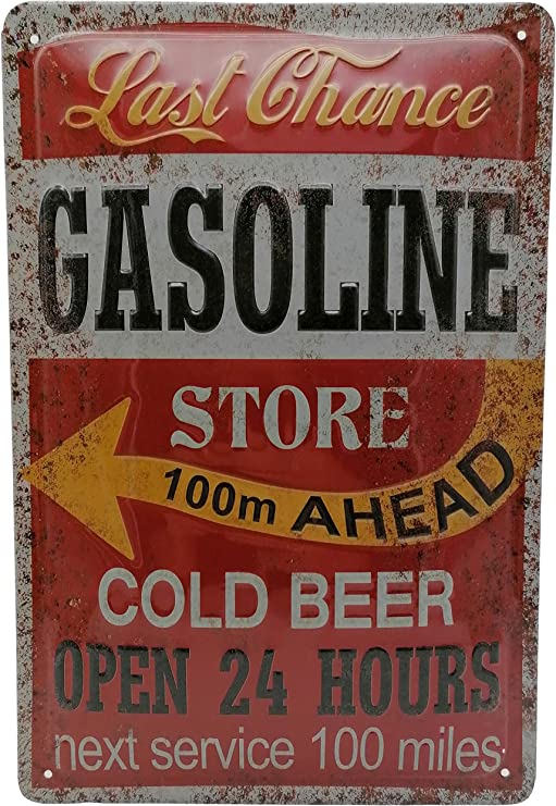 Service Tankstellen Retro Bier Blechschild Gasoline Store Cold Beer 60er Us Diner Werkstatt Oldtimer Werbung Reklame Retro Marke Schild Magnet Metallschild Werbeschild Wandschild Küche Haushalt