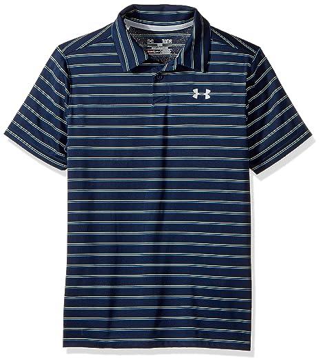 3989cbbc9 Under Armour Boys' Putting Stripe Polo Shirt,Academy (408)/Overcast Gray