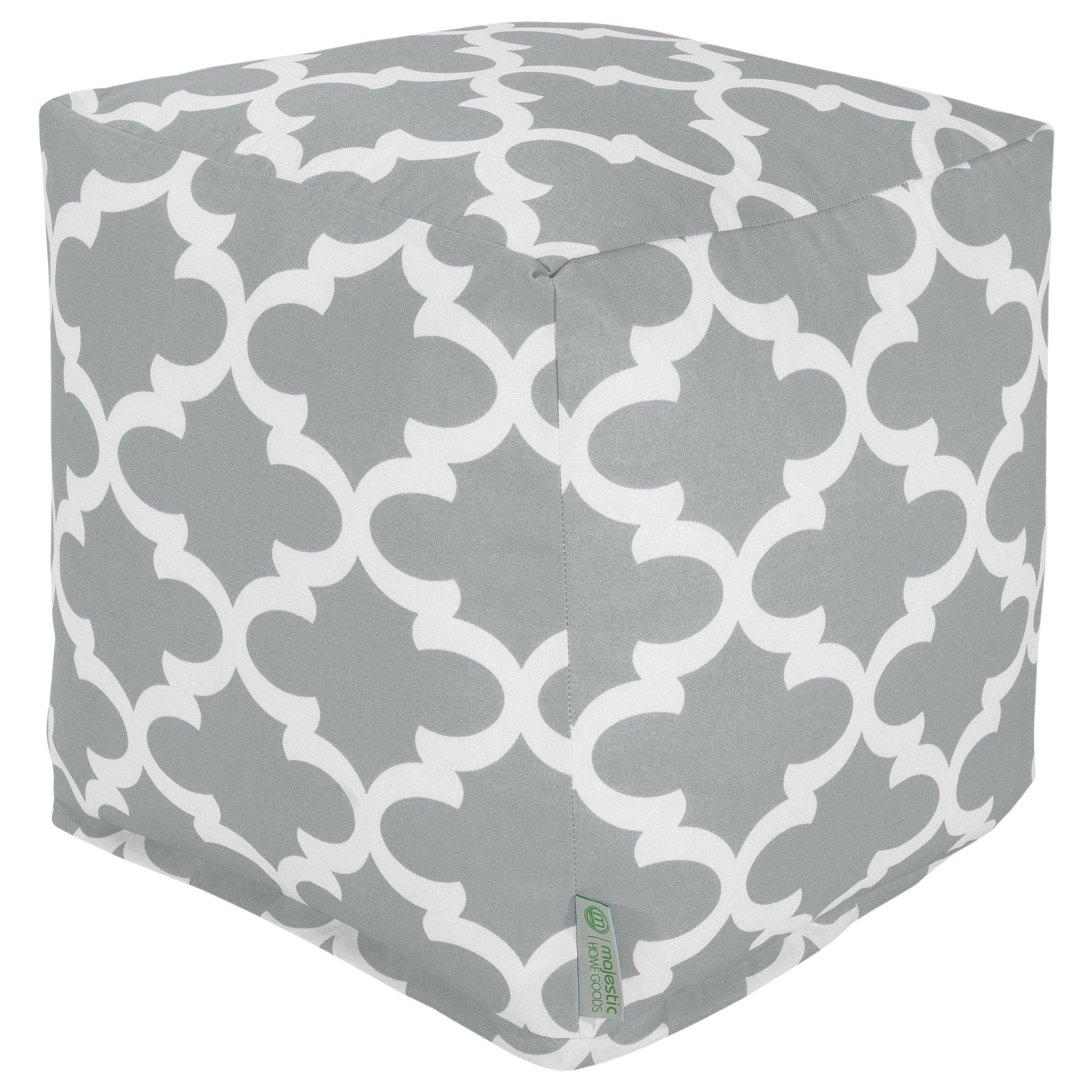 Majestic Home Goods Gray Trellis Indoor/Outdoor Bean Bag Ottoman Pouf Cube 17'' L x 17'' W x 17'' H