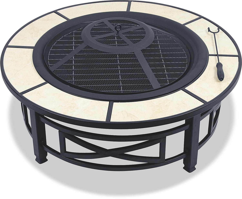 Centurion Supports NUSKU Luxuri/ös und Premium-Multi-Funktions-Schwarz mit Keramikfliesen 360 /° Au/ßen Garten /& Terrasse Heizung Runde Feuerstelle Kohlebecken