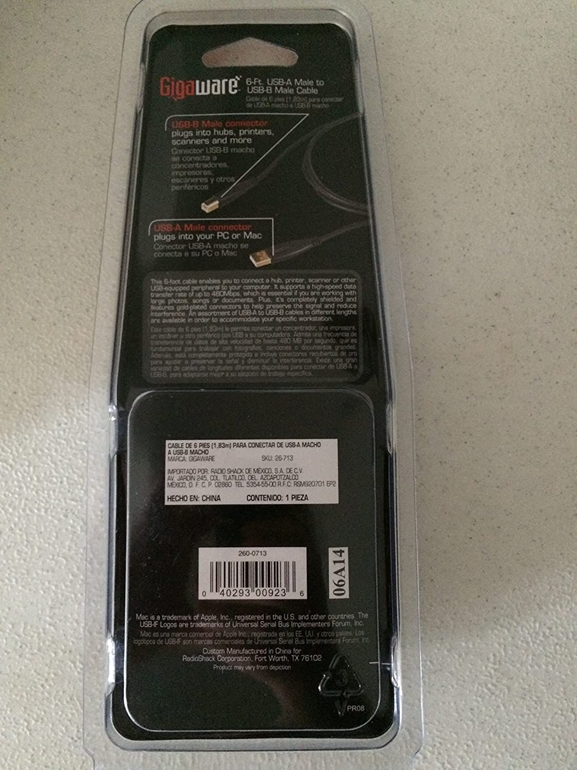 Giga Ware 26-713 6-Ft USB A Male To USB-B Male Cable
