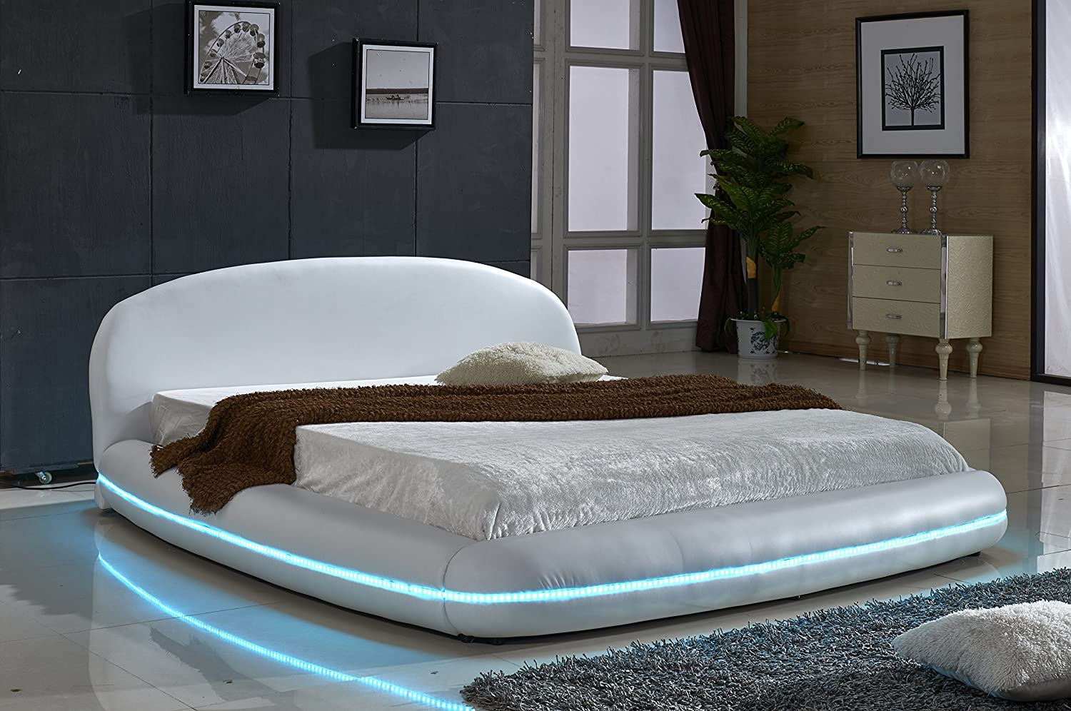 US Pride Furniture White Leather with Flexible LED Decoration Strip Light Contemporary Platform Bed, Eastern King