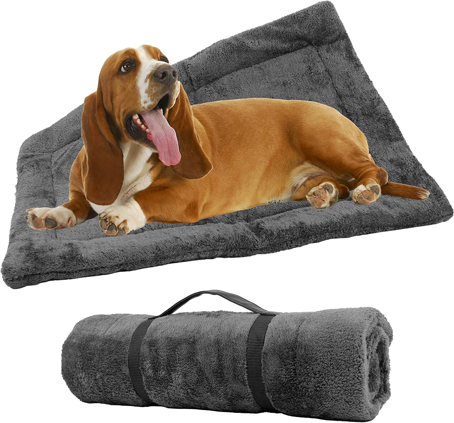 Downtown Pet Supply Self-Heating Thermal Crate Mats with Handle, Warming Kennel Pads for Dogs, Cats, and Pets Available in Grey and Brown with Small, Medium, and Large Sizes