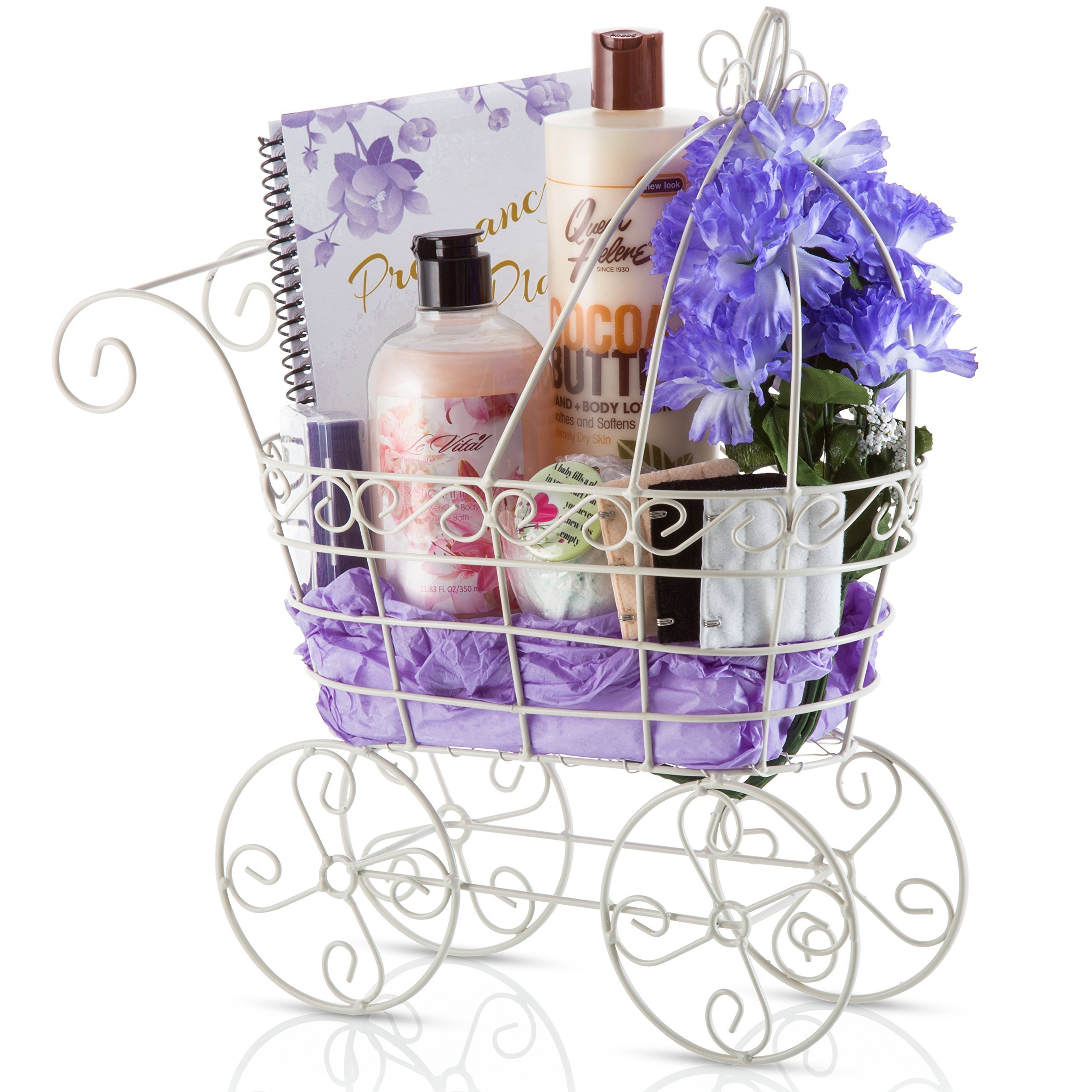 New Mama Pregnancy Maternity Gift Basket - Set of Cocoa Body Butter, Anti-Nausea Bracelets, Bra Extenders, Diary Book and Bath Bomb – Gorgeous Women's Gift Basket for Moms to Be