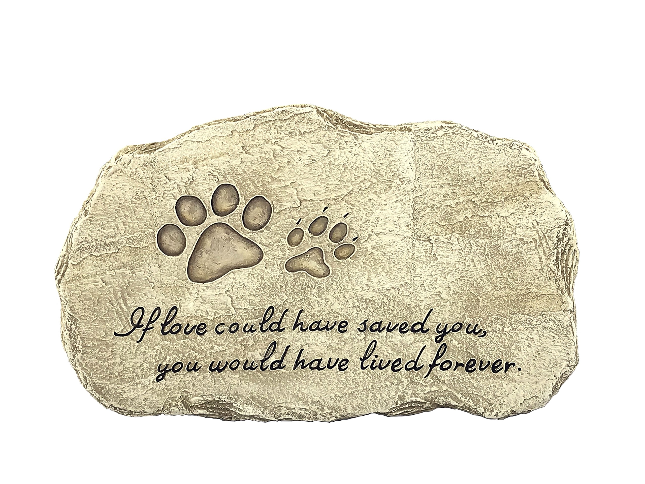 Pet Memorial Stones - Engraved Pet Polystone for Unforgettable Memories - Durable Polyresin Stepping Stone-Pet Footprint, for Garden Décor Dog or Cat for Outdoor Garden Backyard and Lawn