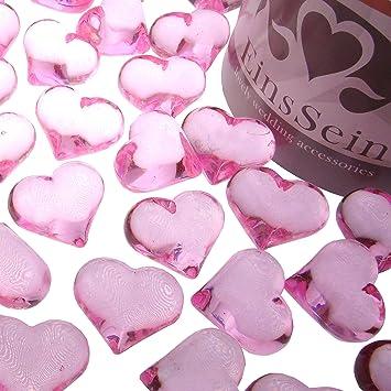 Einssein 30x Dekosteine Funkelnde Herzen 22mm Rosa Dekoration