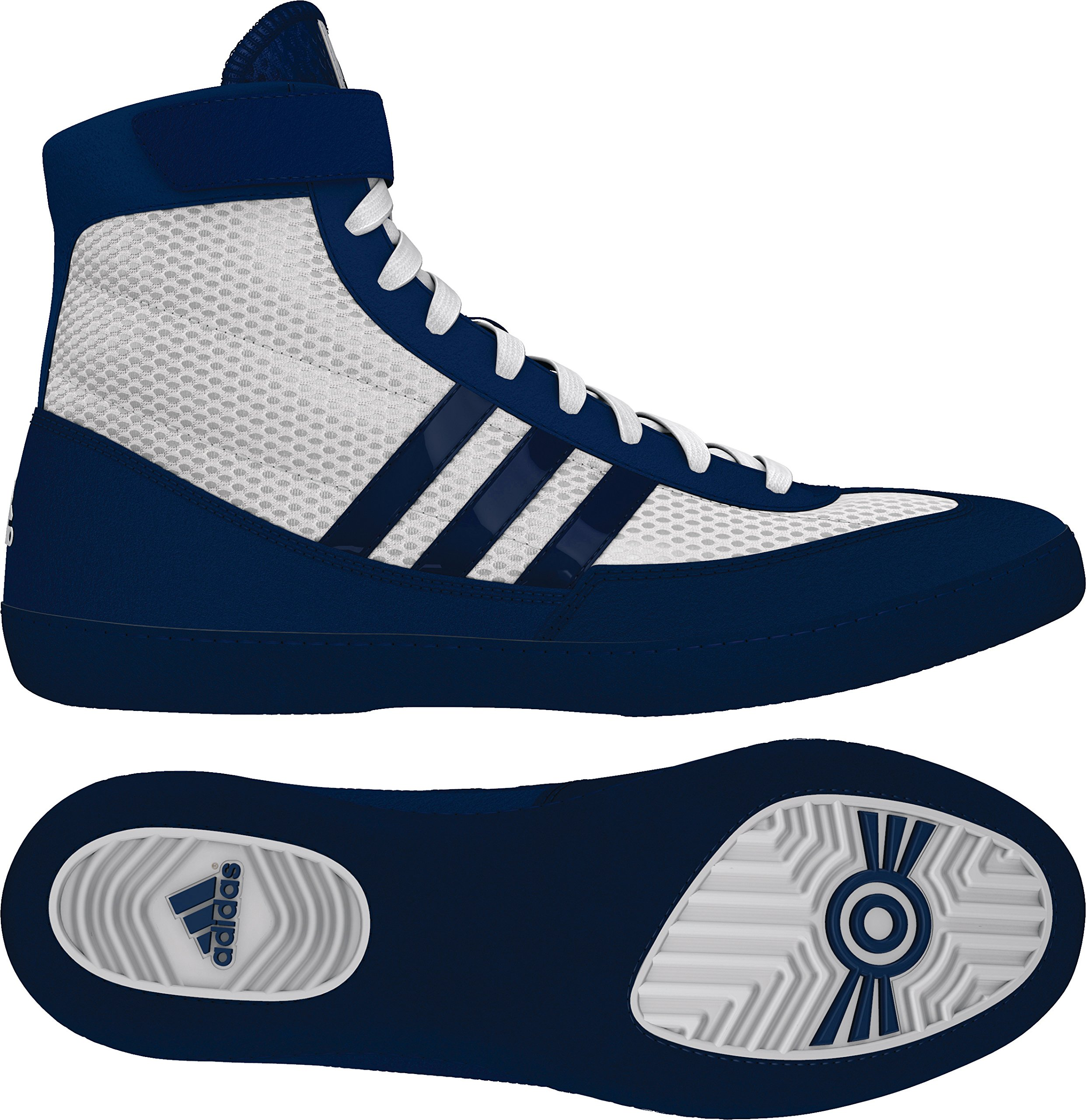 Adidas Combat Speed 4 Youth Wrestling Shoes - White/Navy/White - 5