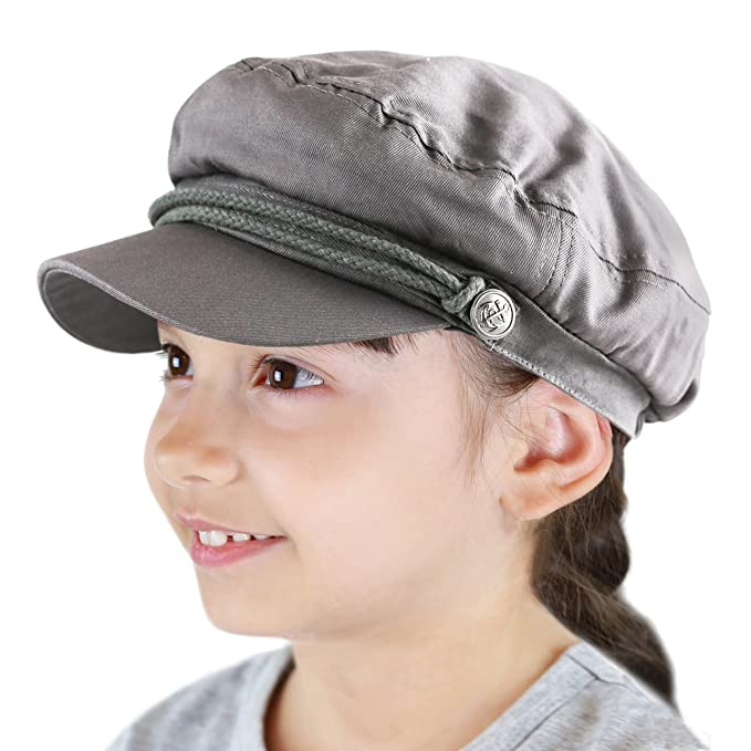 fd53a6bf THE HAT DEPOT Black Horn Kids Cotton Greek Fisherman's Sailor Fiddler  Driver Hat Cap (Charcoal): Amazon.ca: Clothing & Accessories