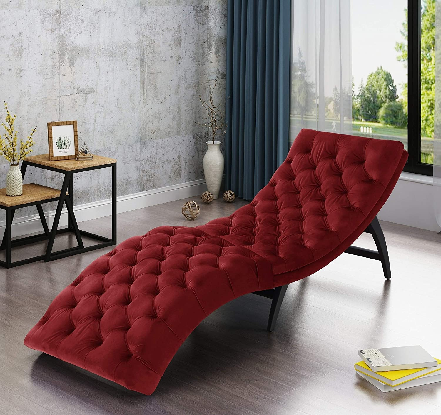 - Amazon.com: Large Chaise Lounge Chair With Elegant Tufted Velvet