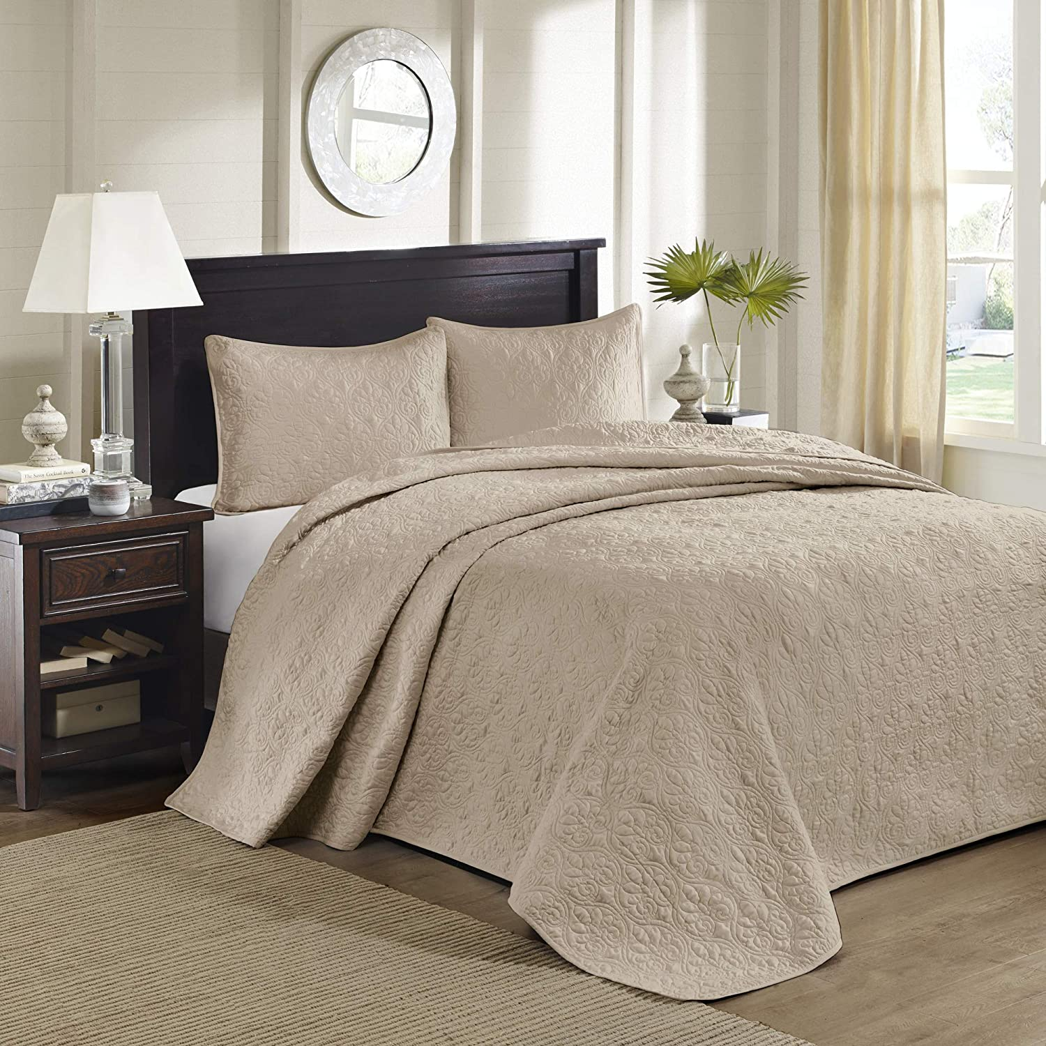 Khaki Oversize King Madison Park Quebec Dusty Pale bluee 3-Piece Quilted King Coverlet Set—For King or Cal King Bed –Ideal For Warm Climate Room Décor or Add-on For Extra Warmth