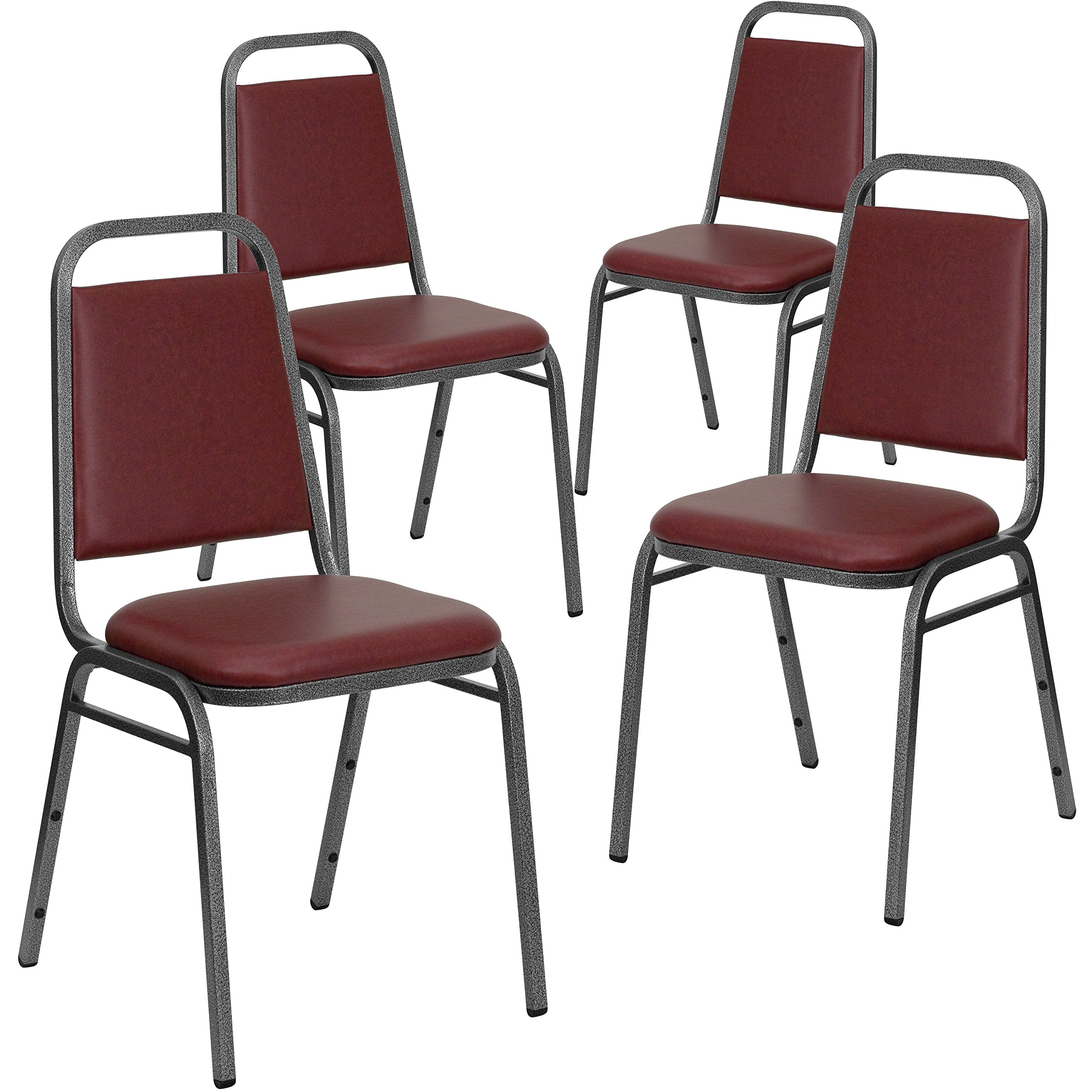 Flash Furniture 4 Pk. HERCULES Series Trapezoidal Back Stacking Banquet Chair in Burgundy Vinyl - Silver Vein Frame by Flash Furniture