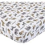 Carters 100% Cotton Fitted Crib Sheet, Safari, Gray, Tan, White