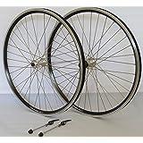 Vuelta 26 Zoll Fahrrad Laufradsatz Dynamic 4 Hohlkammerfelge schwarz Shimano TX800 mit Schnellspannern silber Niro silber 36 Loch
