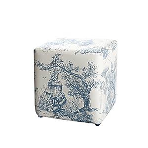 Macabane Pouf Carré Tissu Modèle 4, Coton, Imprime, 31 x 31 x 33 cm