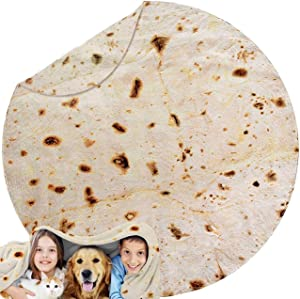 ANBOLU 2.0 Premium Burritos Tortilla Blanket, 71 Inches Double Sided Giant Novelty Food Throw Blanket for Kids and Adults, Super Soft Flannel Taco Blanket for Home, Office, Great Gift for Family