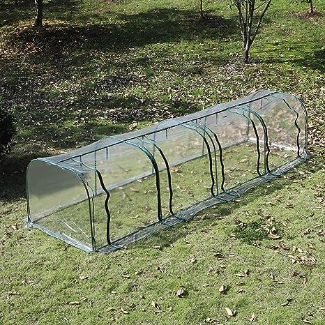Outsunny Invernadero Caseta 400x100x80cm para Jardín Terraza Cultivo de Plantas Semilla Invernadero de Jardín Vivero Casero Tipo Túnel Marco Acero y PVC: ...