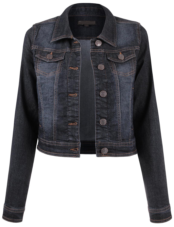 BEKDO Womens Classic Long Sleeve Button up Slim Fit Denim Jacket BEKDOWJ557