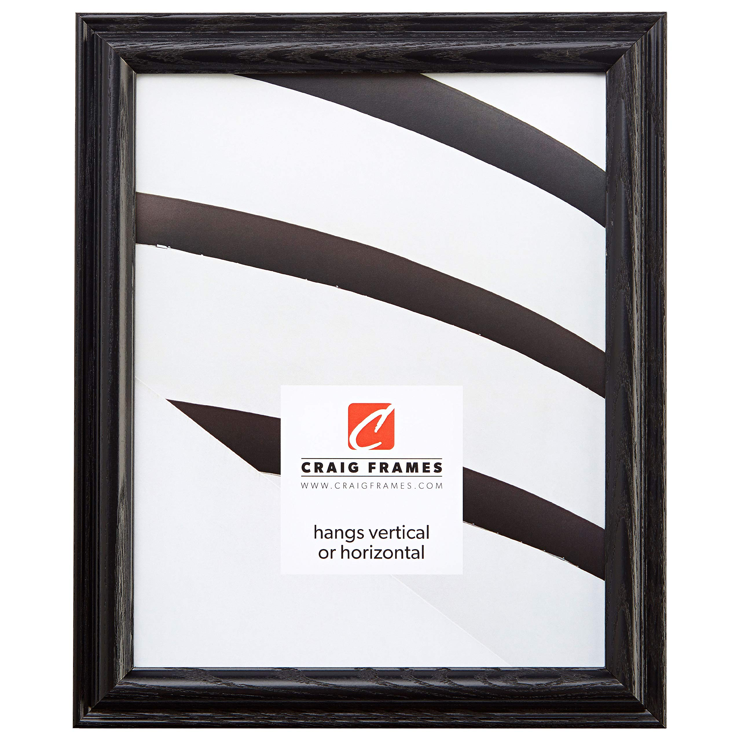Craig Frames 130ASHBK Wood Grain Finish 21 by 24-Inch Picture/Poster Frame, 1-Inch Wide, Black
