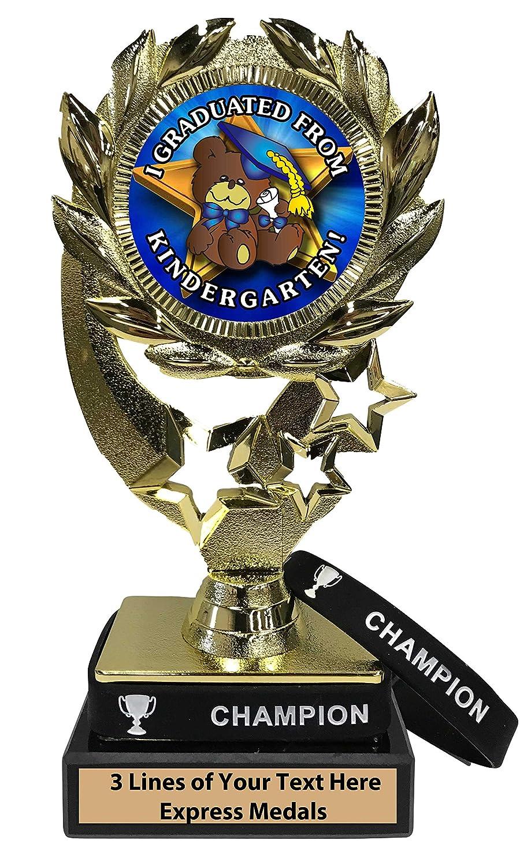 Express Medals 幼稚園 卒業トロフィー 着脱可能 チャンピオンリストバンド 大理石ベース カスタマイズ彫刻プレート B07KN55QG6