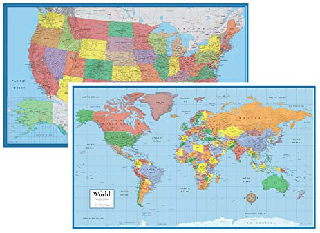 Amazoncom X World And USA Classic Elite Huge Two Wall Map - Wall map of usa