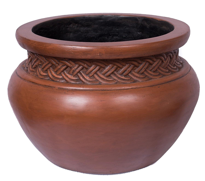 """BirdRock Garden 16"""" Dia Platted Jar - Medium Dark Brown - Outdoor Planter Urn"""