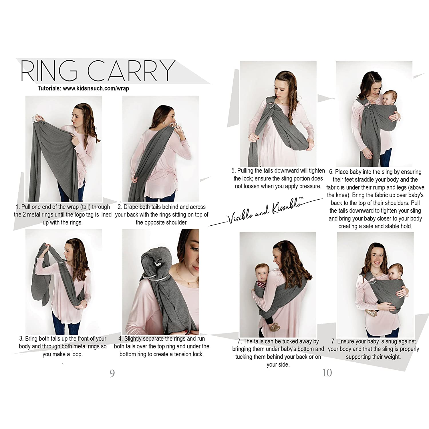 4 in 1 Baby Wrap Carrier and Ring Sling by Kids N' Such | Charcoal Gray Cotton | Use as a Postpartum Belt and Nursing Cover with Free Carrying Pouch | Best Baby Shower Gift for Boys or Girls Kids N' Such WRAP-CHARCOAL