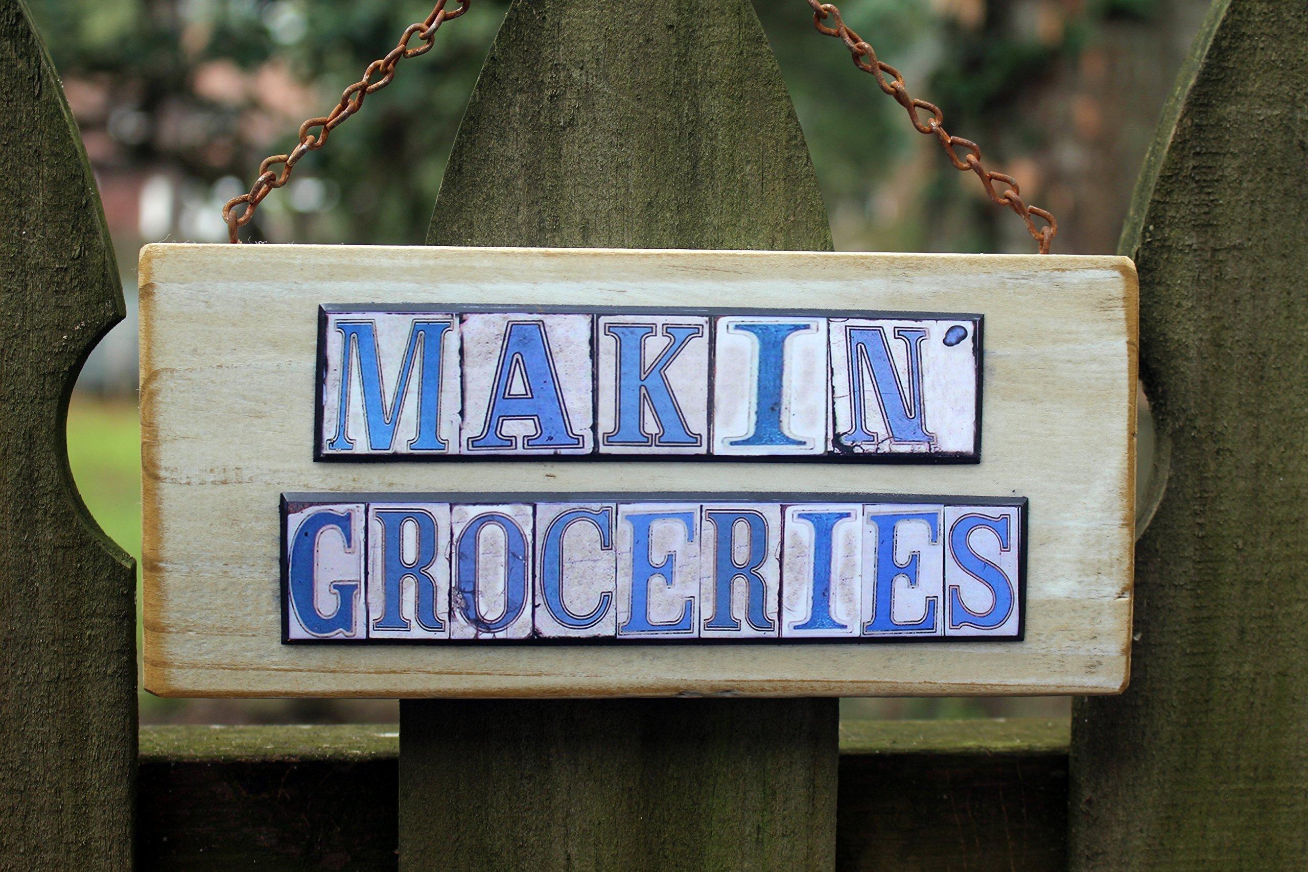 Makin' Groceries Salvage wood sign by ScreenDoorArt (Image #2)