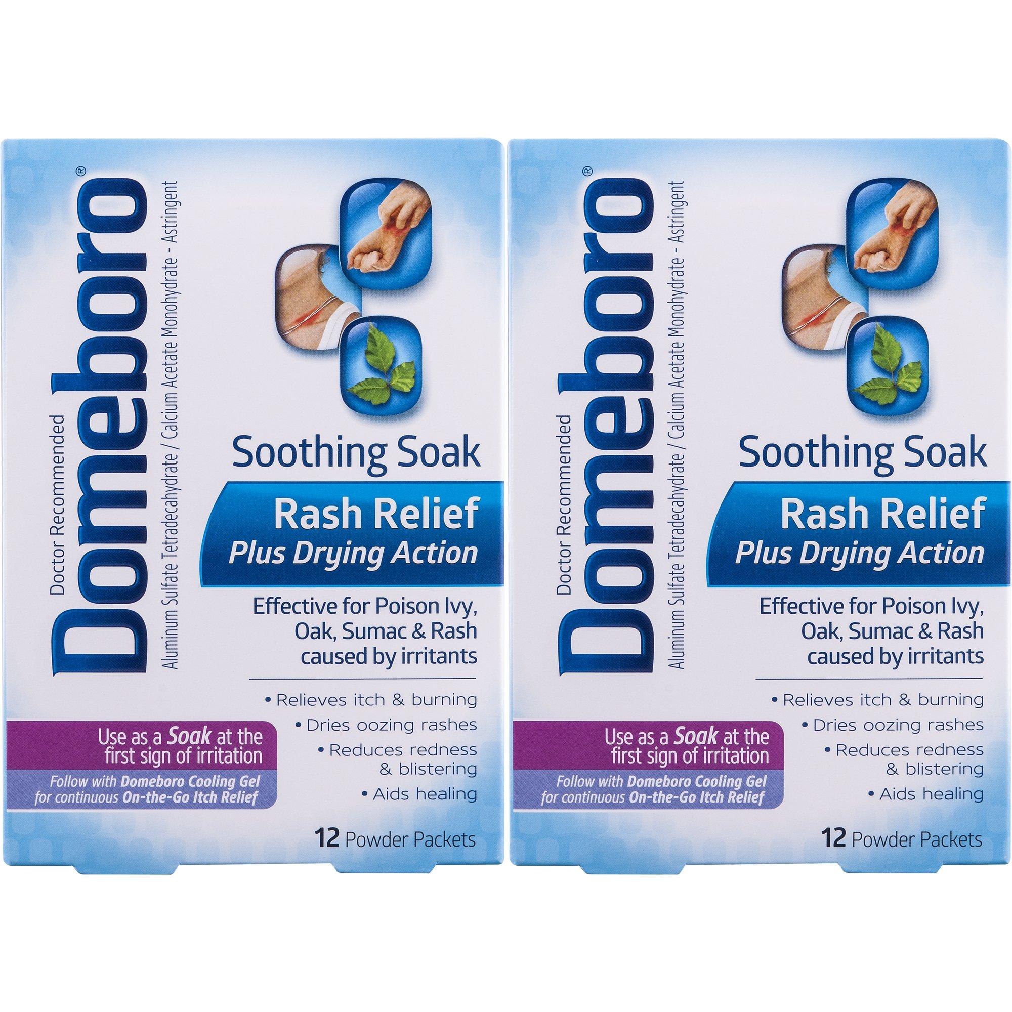 Domeboro Soothing Soak Rash Relief Plus Drying Action Powder Packets, 14 ea, 2 Pack Spa Sister Eyelid Gel Mask Purple