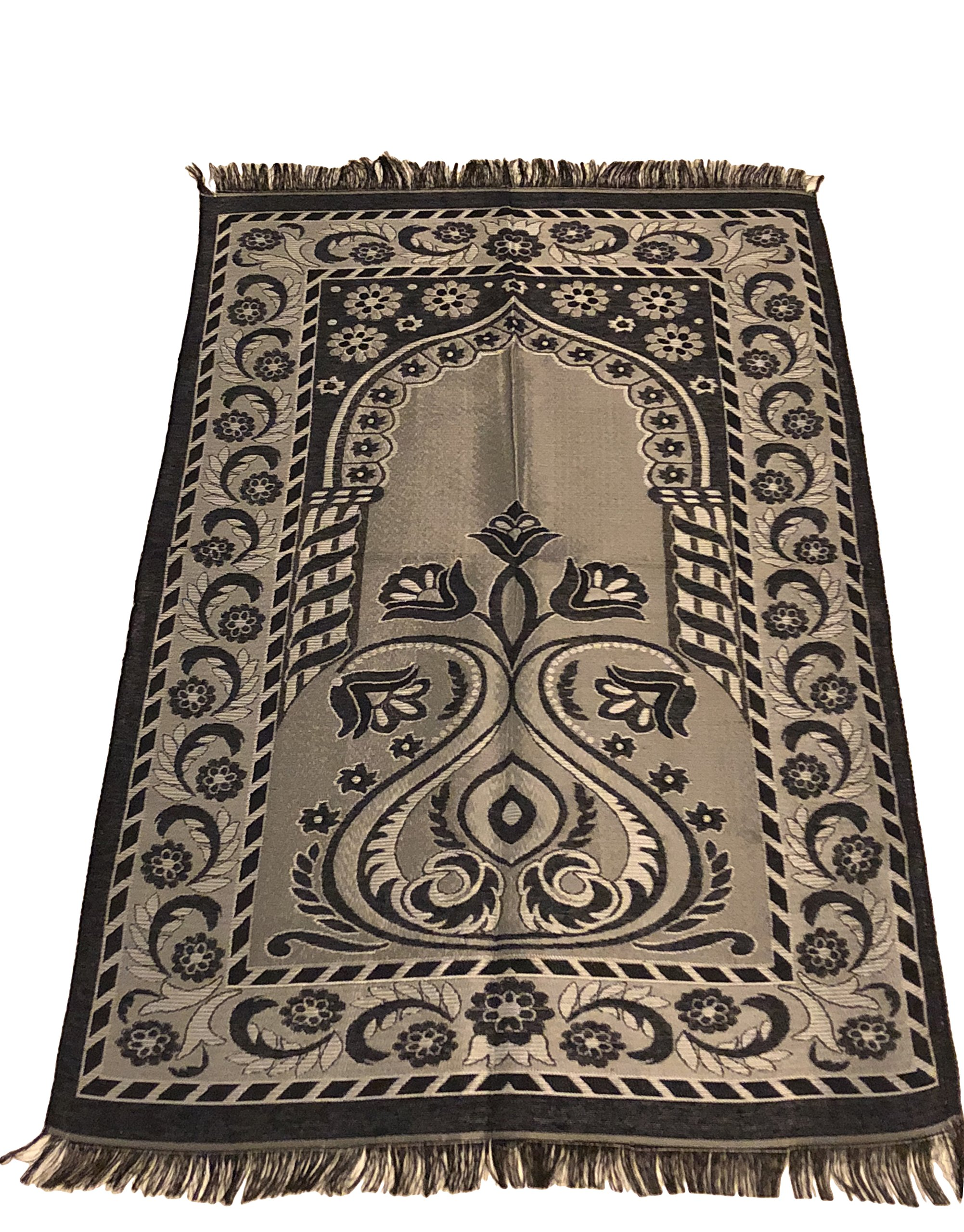 Islamic Prayer Rug Mihrab Tulib Design Excellent Quality Thin Janamaz Sajjadah Muslim Namaz Seccade Turkish Prayer Rug (Dark Blue)