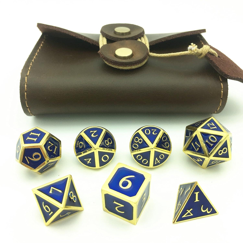 momostarソリッド多面体ダイス、メタリックピンセットfor DND RPG、ゴールデン&サファイアブルー背景  Set of 7 + brown PU box/bag B07FPQPJDL