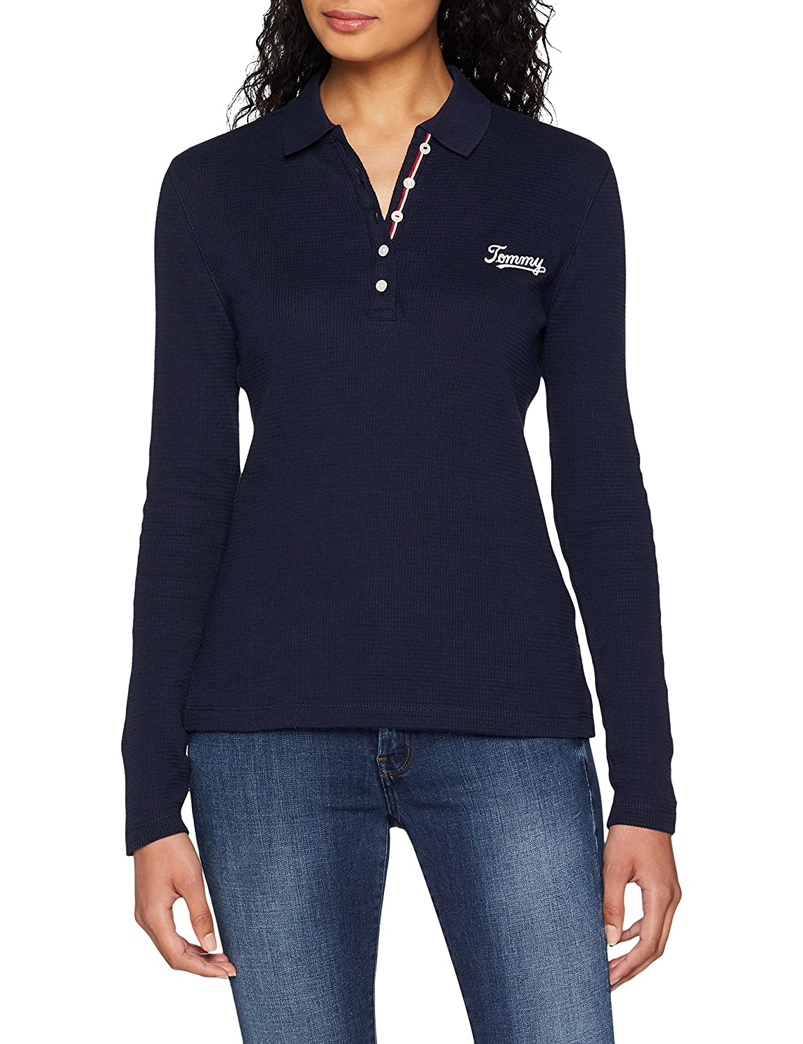 Tommy Jeans Mujer Essential Textured Polo Manga Larga Azul (Black ...