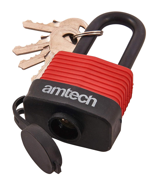 /Candado de grillete Largo Resistente a la Intemperie t0760/40/mm 1/Rojo Am-Tech/