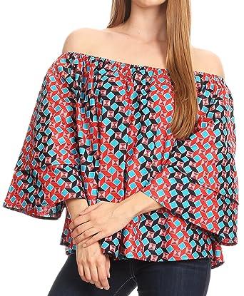 8e1b9a830fa8c4 Sakkas WRT166 - Abree Off-Shoulder Short Sleeve Blouse Top Ankara Wax Dutch  African Print