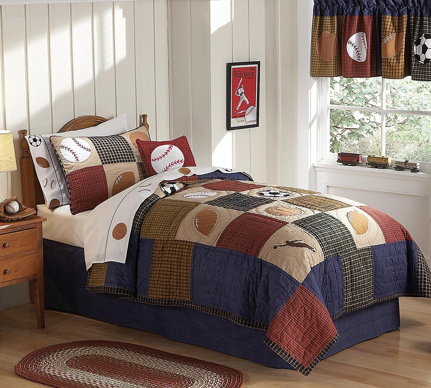 Laura Hart Kids QS6090FQ-2300 Classic Sports Quilt with 2 Shams, Full/Queen