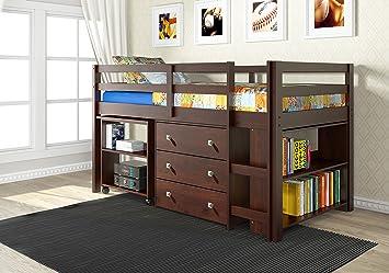Amazon Com Donco Kids 760 Cp Low Study Loft Bed Dark Cappuccino